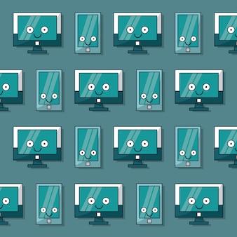 Patroon van lcd-monitoren en smartphones geanimeerd