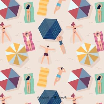 Patroon van mensen op het strand
