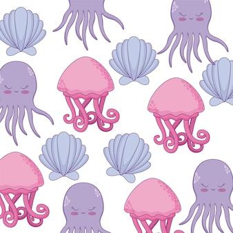 Patroon van octopus met zeeschelp en kwallen