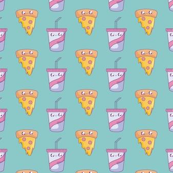 Patroon van plakpizza met kawaiistijl van drankenflessen