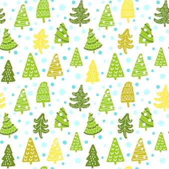 Patroon van prachtige kerstboom in doodle stijl