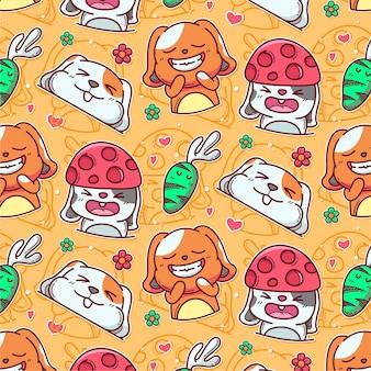 Patroon van schattig konijn en wortel