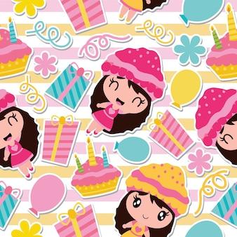 Patroon van schattig meisje, verjaardagstaart en cadeau op gestreepte achtergrond