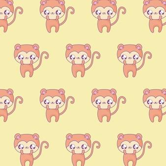 Patroon van schattige apen baby dieren kawaii stijl