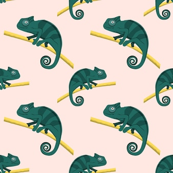 Patroon van schattige groene kameleons lopen op boomtak, vectorillustratie.