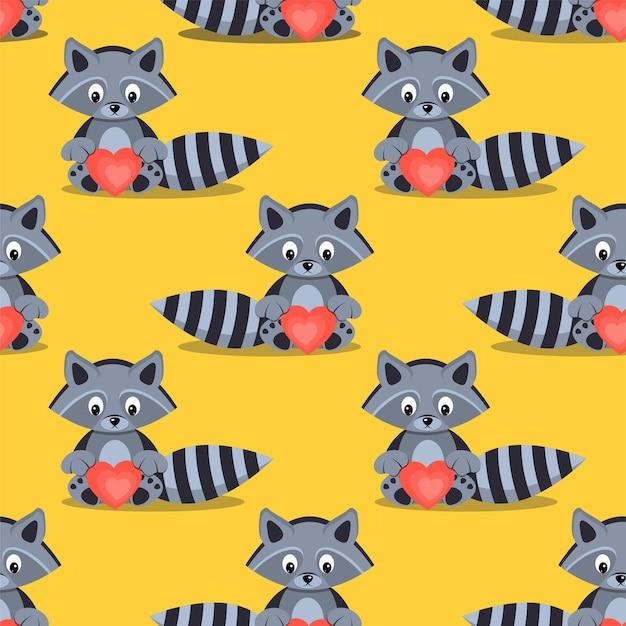 Patroon van schattige wasberen