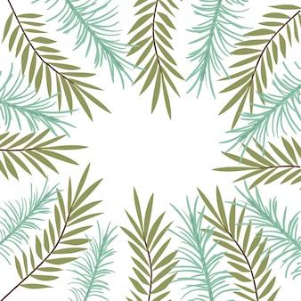 Patroon van tak met blad op witte achtergrond
