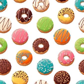 Patroon van vector donuts versierd met toppings