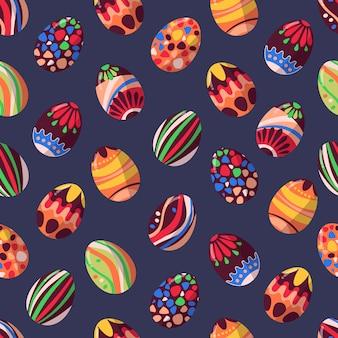 Patroon van vectorchocoladepaaseieren.