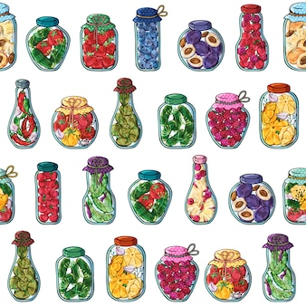 Patroon van vectorkruiken van ingeblikte groenten en vruchten.