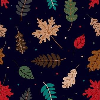 Patroon van verschillende herfstbladeren vectorillustratie