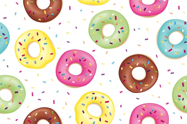 Patroon van zoete kleurrijke donuts