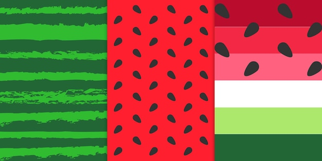 Patroon van zoete sappige stukjes watermeloen modern trendy minimalistisch patroon gratis premium vector