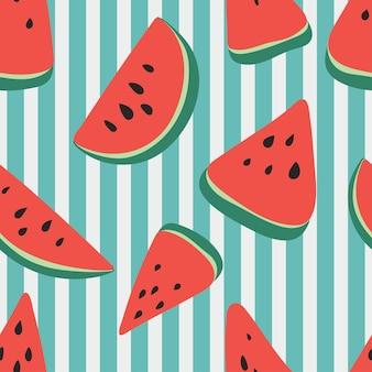Patroon van zoete sappige stukjes watermeloen, watermeloen plakjes met zaad vector achtergrond. modern trendy herhalingspatroon met watermeloen