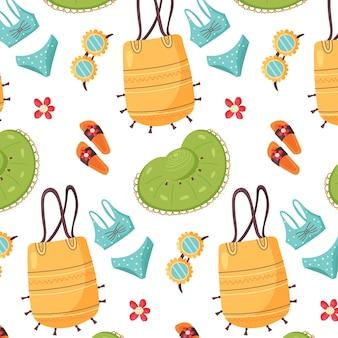 Patroon van zomer items hoed tas slippers bril naadloze vector background
