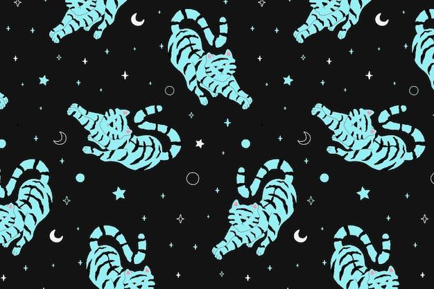 Patroon vector schattige tijger op nachtelijke hemel illustratie