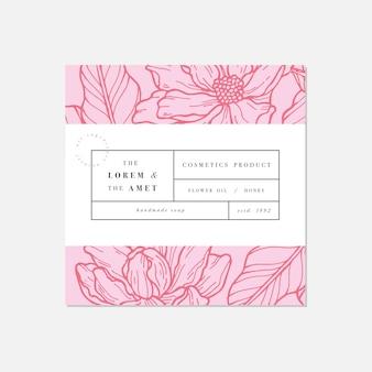 Patroon voor cosmetica met label sjabloonontwerp