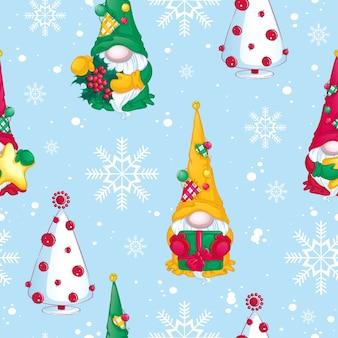 Patroon voor kerstmis. kerstkabouters met geschenken