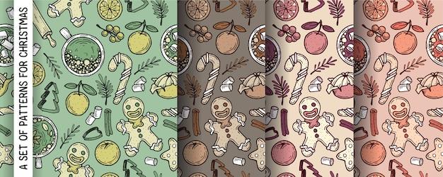 Patroon voor kerstmis met gemberkoekjes, thee en mandarijnen