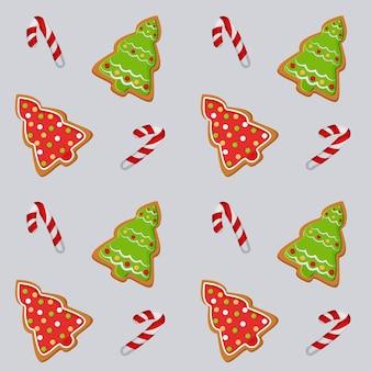 Patroonillustratie met een afbeelding van kerstkoekjes met peperkoek voor het ontwerp van afdrukken
