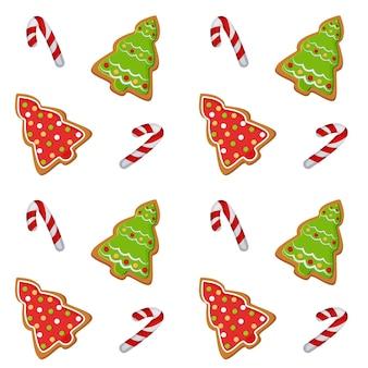 Patroonillustratie met een afbeelding van kerstkoekjes