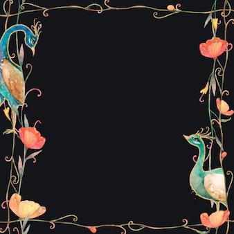 Patroonkader met waterverfbloem en pauw op zwarte achtergrond