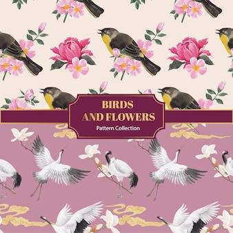 Patroonnaad met vogel- en chinees bloemconcept, aquarelstijl
