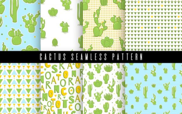 Patroonreeks naadloze cactus en succulent in stijl. ontwerp met platte tekeningelementen.