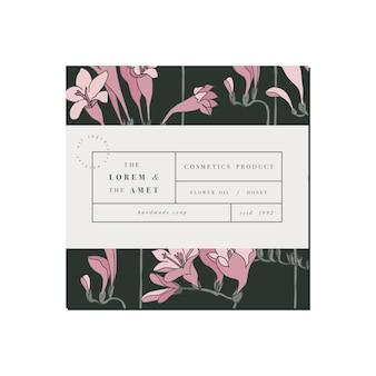Patten voor cosmetica label sjabloonontwerp. freesia bloemen.