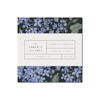 Patten voor cosmetica met labelsjabloonontwerp. lila bloemen. biologische, natuurlijke cosmetica.
