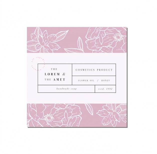 Patten voor cosmetica met labelsjabloonontwerp. patroon- of inpakpapier voor pakket- en schoonheidssalons. botanische collectie. biologische, natuurlijke cosmetica.