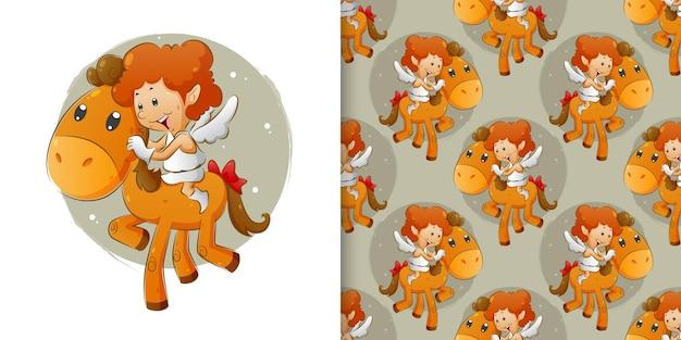 Pattern set van de cupido rit op de kleine pony in de hemel
