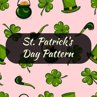 Pattren voor st. patrick's day. klaverbladeren en munten. naadloze patroon