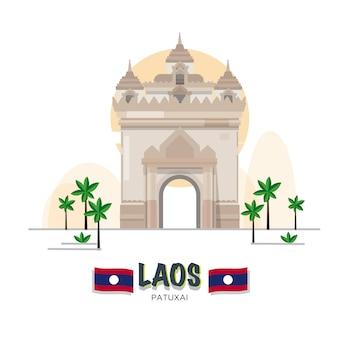 Patuxai victory monument in vientiane. laos landmark. asean set.