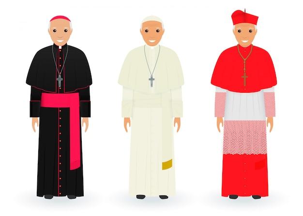 Paus, kardinaal en bisschop karakters in karakteristieke kleren staan samen. opperste katholieke priesters in cassocks.