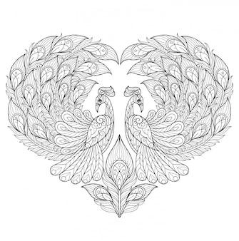Pauw hart. hand getrokken schets illustratie voor volwassen kleurboek