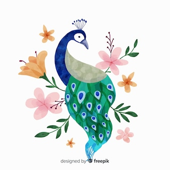 Pauw in aquarel stijl