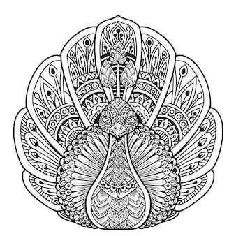 Pauw kleurboek mandala ontwerp