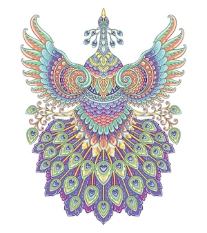 Pauw kleurrijk mandala-ontwerp