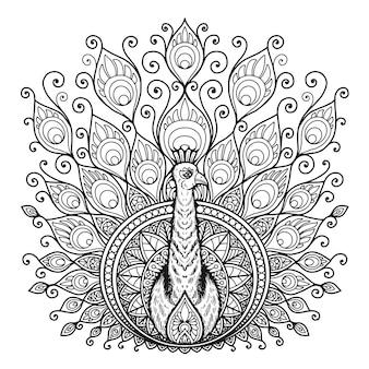 Pauw mandala ontwerp voor kleurboek