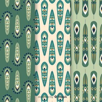 Pauwenveer patroon collectie met platte ontwerp