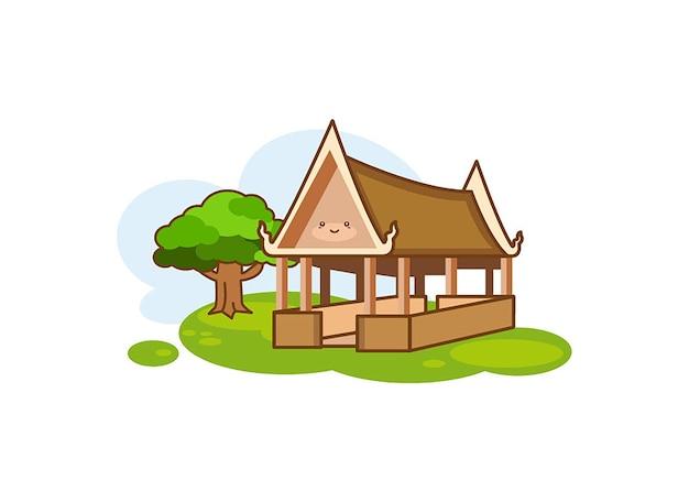 Paviljoen pictogram in cartoon stijl geïsoleerd op een witte achtergrond