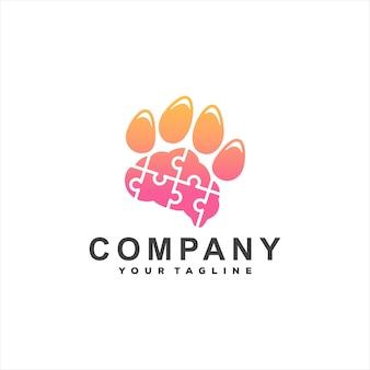 Paw dier gradiënt logo ontwerp