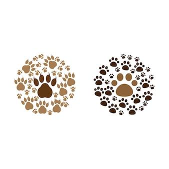 Paw print pictogram ontwerp set bundel sjabloon geïsoleerd