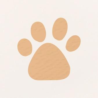 Paw print sticker, dier vector clipart papier getextureerd ontwerp