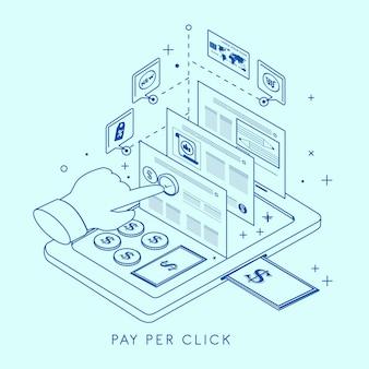 Pay-per-click concept illustratie in dunne lijnstijl