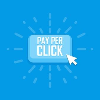 Pay-per-klik concept platte pictogram. vector illustratie.