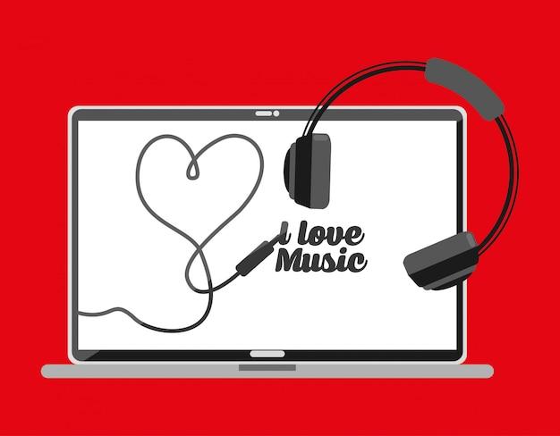 Pc-scherm met letters ik hou van muziek