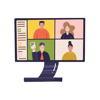 Pc-scherm met online conferentie op afstand op monitor met mensen die vanuit huis deelnemen aan een zakelijke bijeenkomst. werk thuis, zelfisolatie, coronavirus in quarantaine, freelance concept. vlak