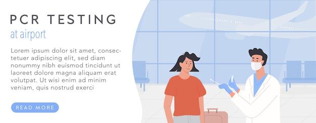 Pcr-test op luchthaven websjabloon voor spandoek. reizen met gezondheidscertificaat. covid test voor vertrek